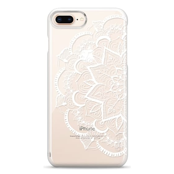 iPhone 8 Plus Cases - White Feather Mandala on Clear