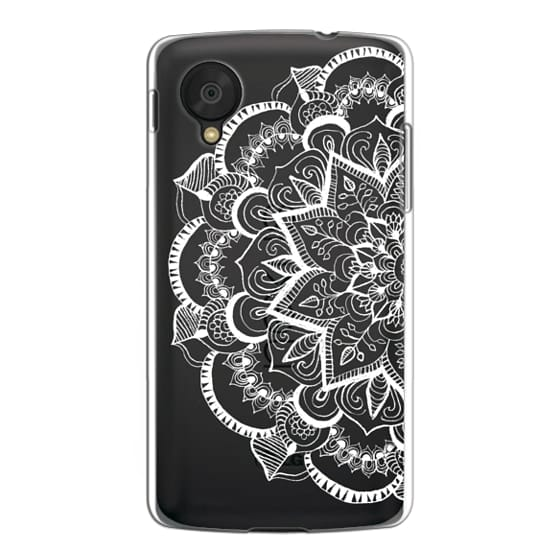 Nexus 5 Cases - White Feather Mandala on Clear