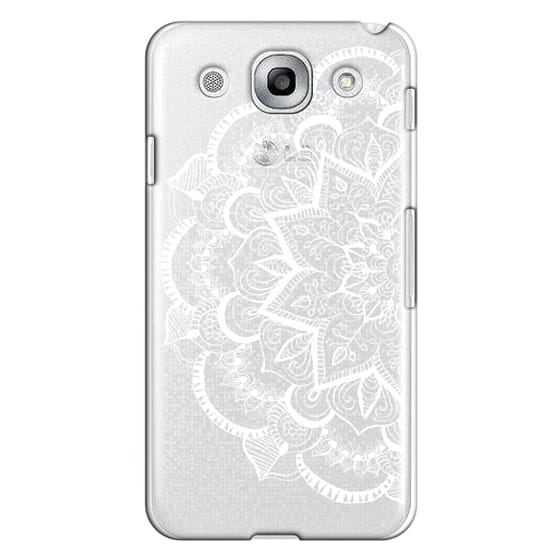 Optimus G Pro Cases - White Feather Mandala on Clear