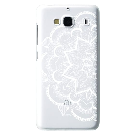 Redmi 2 Cases - White Feather Mandala on Clear
