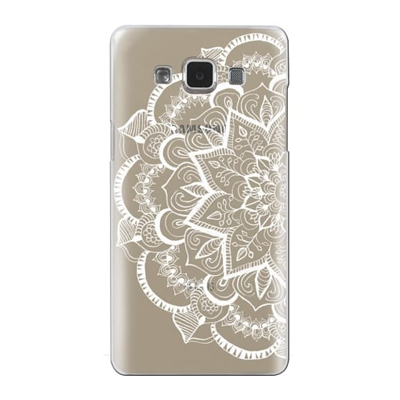 Samsung Galaxy A5 Cases - White Feather Mandala on Clear