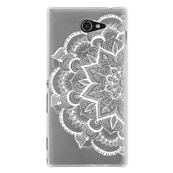 Sony M2 Cases - White Feather Mandala on Clear