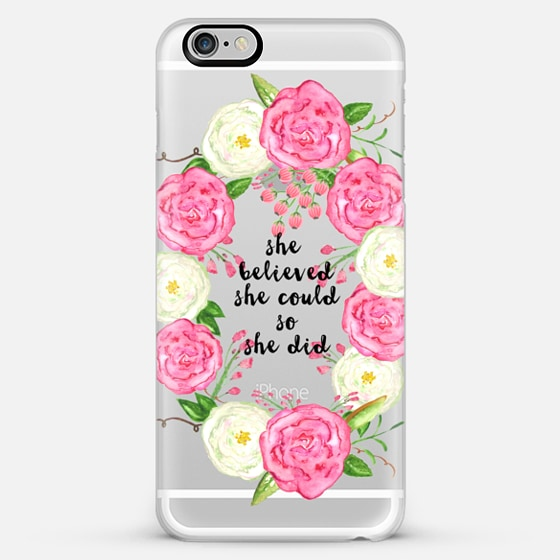 she believed she could pink roses transparent - Classic Snap Case