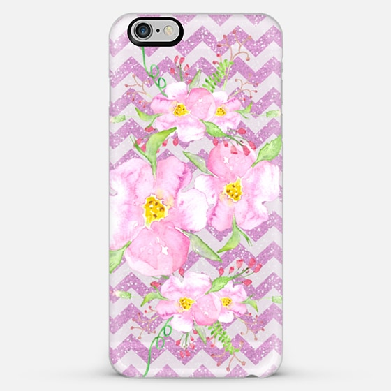pink roses and chevrons-transparent - Classic Snap Case