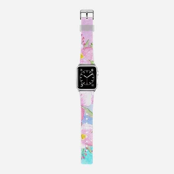 watercolor flowers watch band -