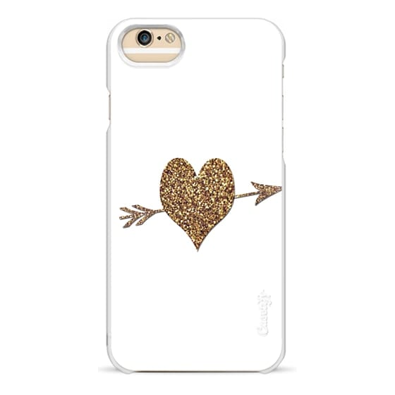 iPhone 6 Cases - gold glitter heart with arrow on white