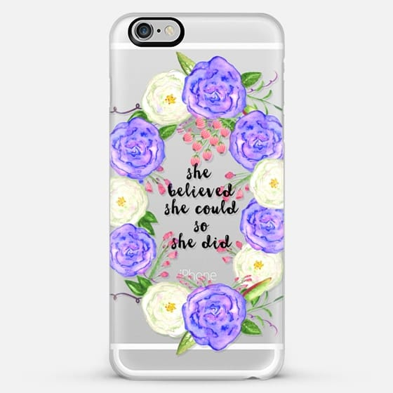 she believed she could blue roses transparent - Classic Snap Case