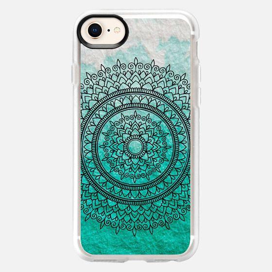 Ombre Teal Watercolour Mandala - Snap Case