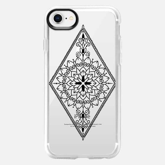Intricate Black Henna Inspired Mandala Diamond Design - Snap Case