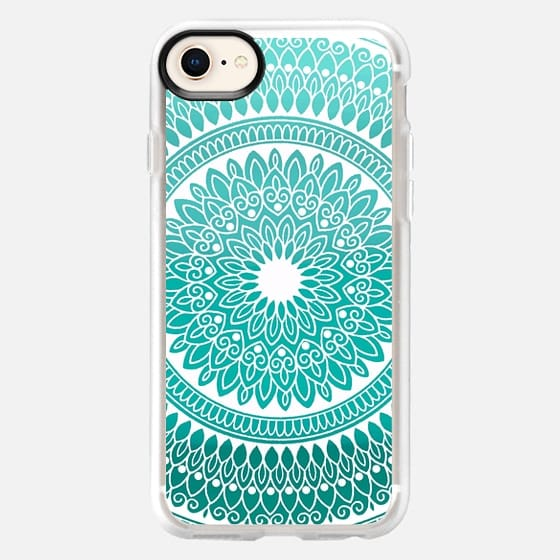 Teal And White Hand Drawn Intricate Lace Mandala - Snap Case