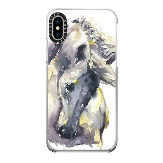 iPhone X Cases - White Horse watercolor