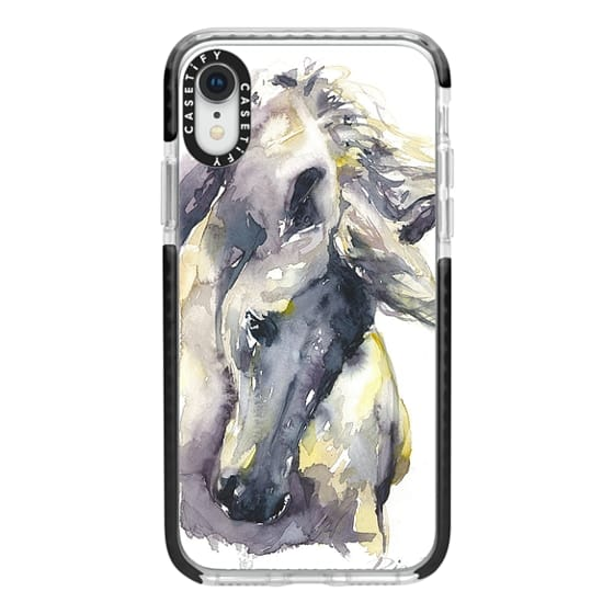 iPhone XR Cases - White Horse watercolor