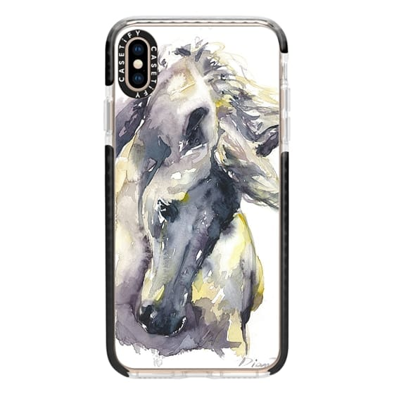 iPhone XS Max Cases - White Horse watercolor