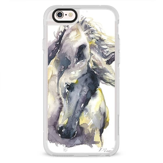 iPhone 4 Cases - White Horse watercolor
