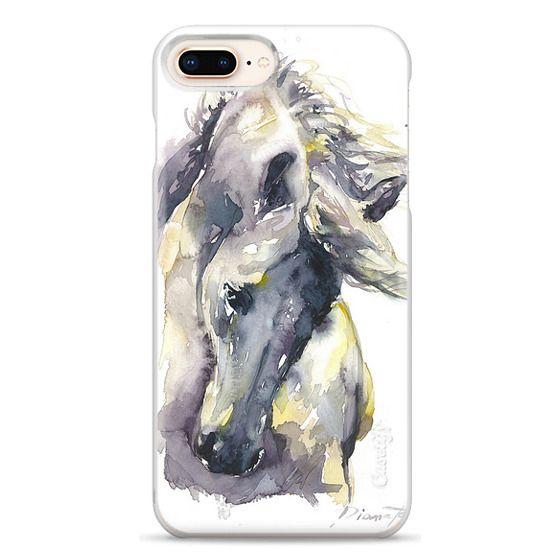 iPhone 8 Plus Cases - White Horse watercolor