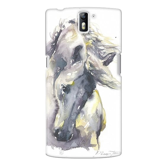 One Plus One Cases - White Horse watercolor