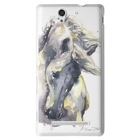 Sony C3 Cases - White Horse watercolor