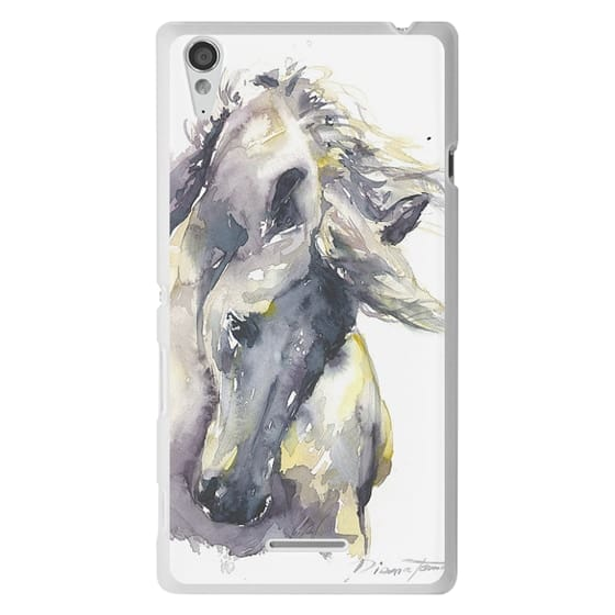 Sony T3 Cases - White Horse watercolor
