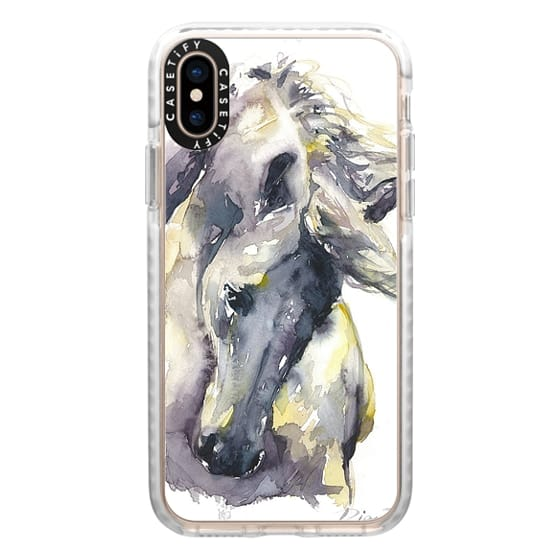 iPhone XS Cases - White Horse watercolor