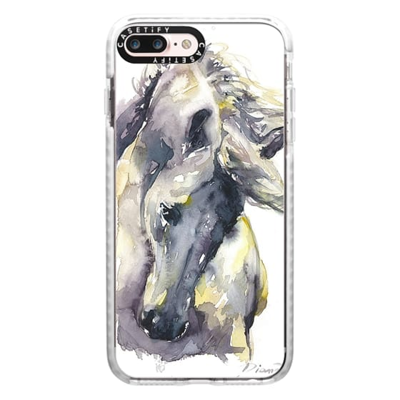 iPhone 7 Plus Cases - White Horse watercolor