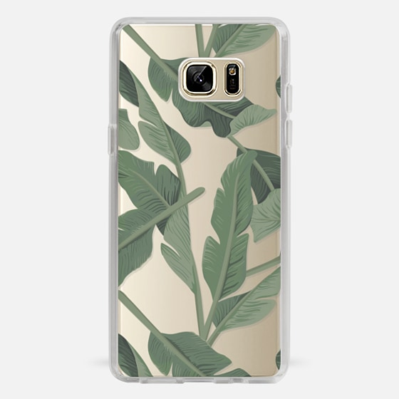 Galaxy Note 7 Case - Tropical '17 - Forest [Banana Leaves] Clear