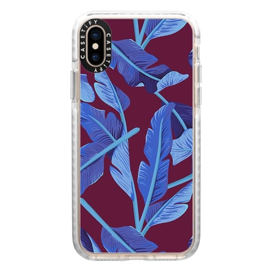 iPhone XS Cases - Tropical '17 - Blue Bird Of Paradise [Banana Leaves]