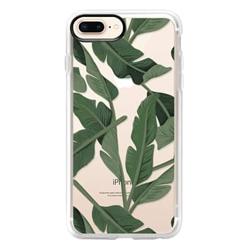 Grip iPhone 8 Plus Case - Tropical '17 - Forest [Banana Leaves] Clear