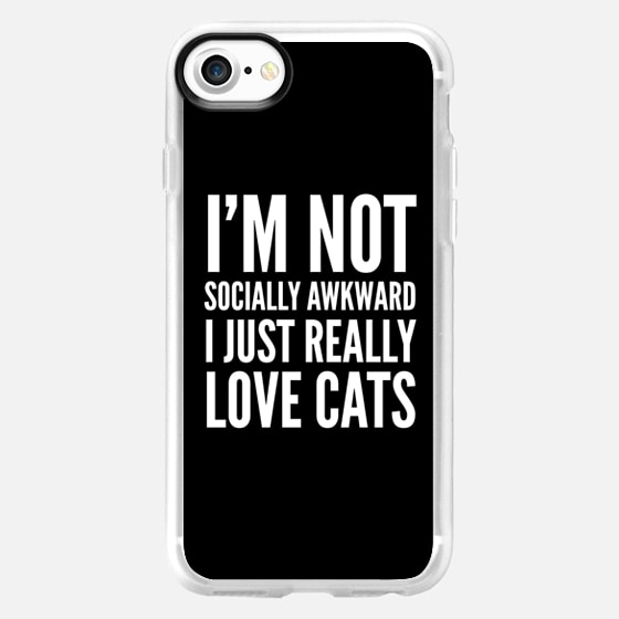 I'm Not Socially Awkward I Just Really Love Cats (Black & White) - Wallet Case