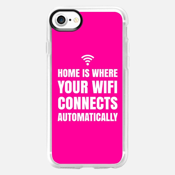 HOME IS WHERE YOUR WIFI CONNECTS AUTOMATICALLY (Pink) - Wallet Case
