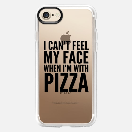 I Can't Feel My Face When I'm With Pizza (Transparent & Black) - Wallet Case