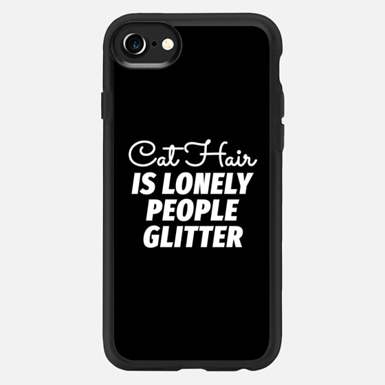 Cat Hair is Lonely People Glitter (Black & White) - Classic Grip Case