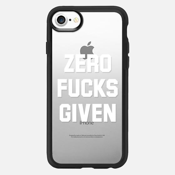 Zero Fucks Given (Transparent White Art) - Classic Grip Case