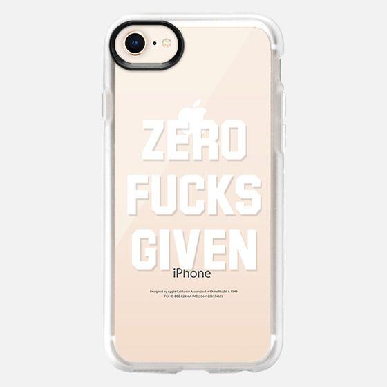 Zero Fucks Given (Transparent White Art) - Snap Case