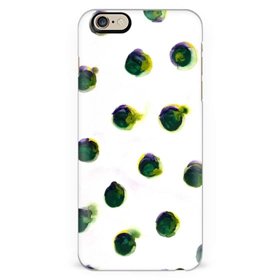 Watercolor Polka Dots in Deep Green