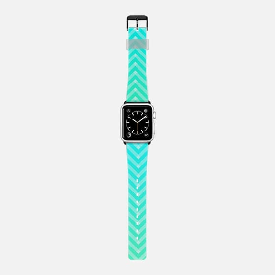 Modern Turquoise Zigzag Stripes Ombre Chevron Pattern -
