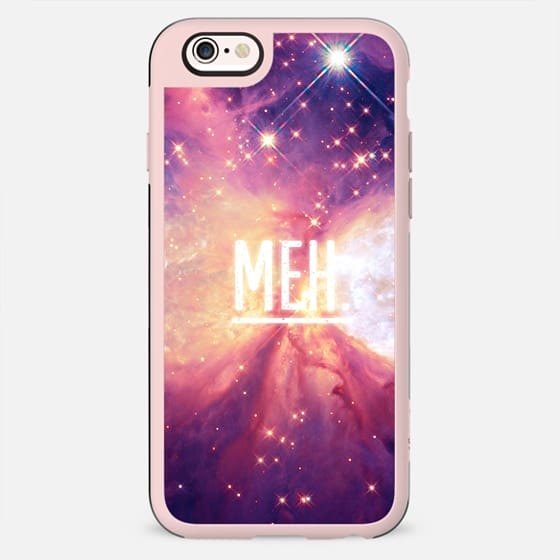 Modern Space Nebula White Trendy '' MEH '' Typography by EightFour - New Standard Case