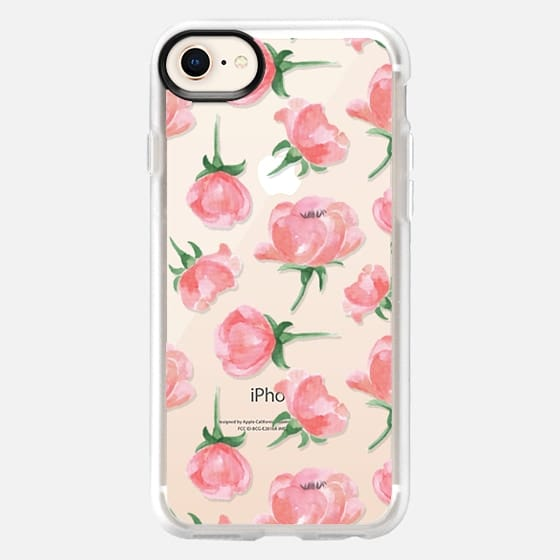 Watercolor pink flowers. Delicate painted pattern - Snap Case