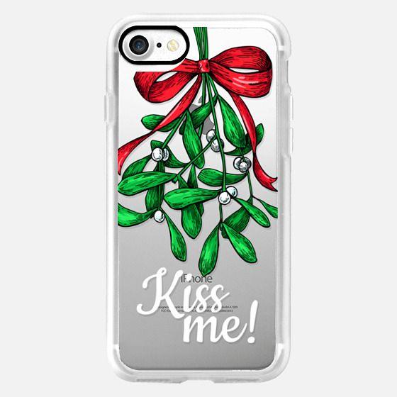 Christmas Mistletoe. Kiss Me! Xmas Quote -