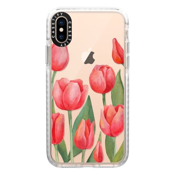iPhone XS Cases - Watercolor Tulips. Spring Flowers