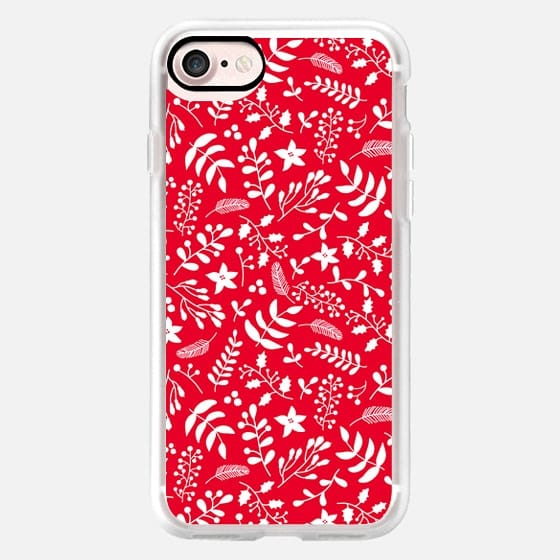 Holly Jolly. Christmas red floral pattern - Classic Grip Case