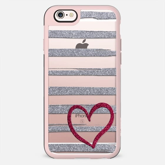 Red heart on shiny silver stripes - New Standard Case