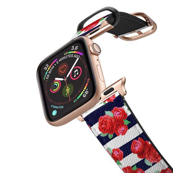 Apple Watch 38mm Bands - Vintage Roses n.5 on blue stripes