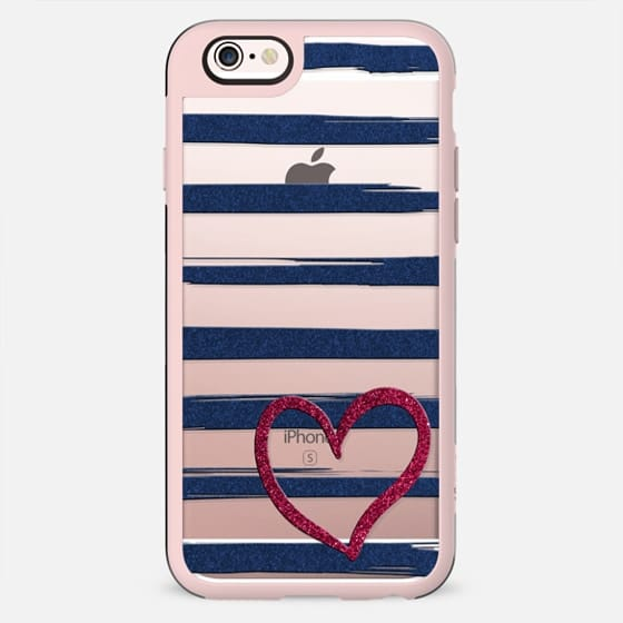 Red heart on blue stripes