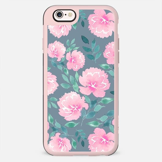 Pink floral pattern n.1 on dark grey - New Standard Case