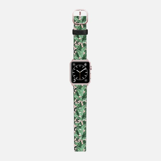 Leaves n.1 in pink - Saffiano Leather Watch Band