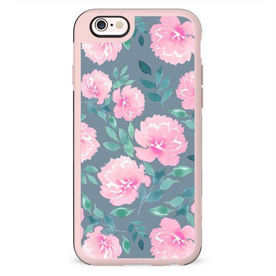 Pink floral pattern n.1 on dark grey
