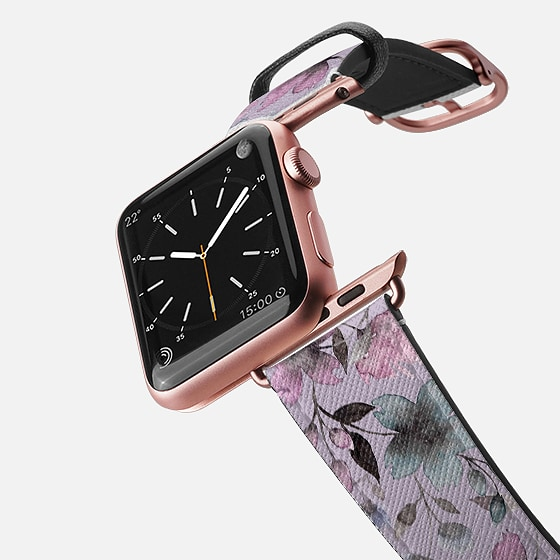 Casetify Saffiano Leather Watch Band - Floral Watercolor N.10 ON Lilac Grey