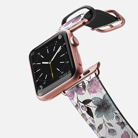 Casetify Saffiano Leather Watch Band - Floral Watercolor N.10