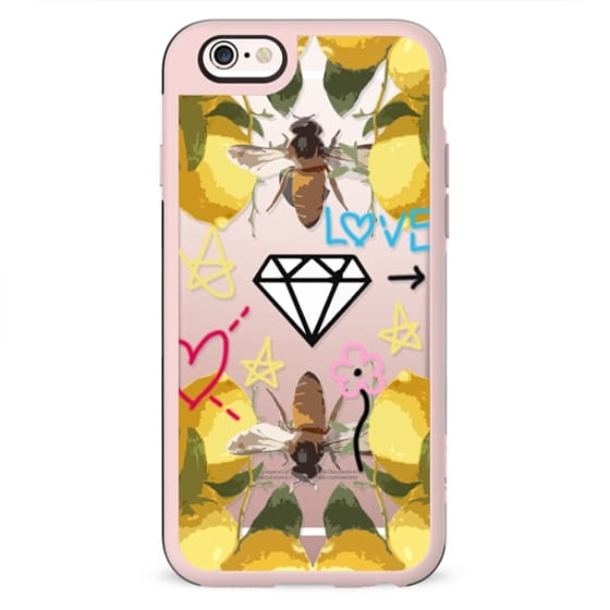 Bumble Bee Floral and Graffiti Jetblack iPhone 7 Design