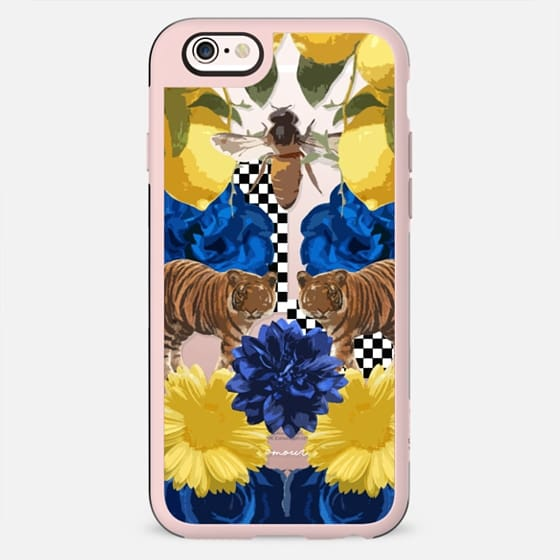 Blue and Yellow Amour Floral Wildlife Animals iPhone Jetblack